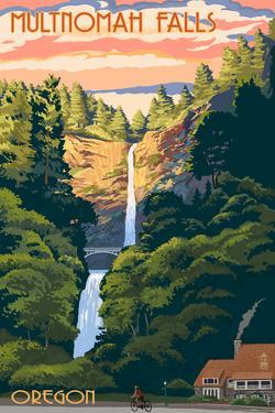 Multnomah Falls, Oregon - Sunset by Lantern Press