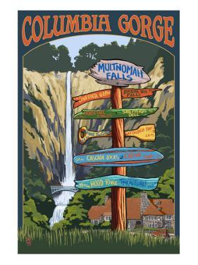 Multnomah Falls Signpost - Columbia Gorge, Oregon by Lantern Press