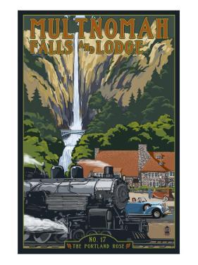 Multnomah Falls - Train and Cars by Lantern Press