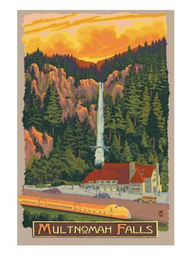 Multnomah Falls View with Train, c.2009 by Lantern Press
