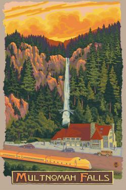 Multnomah Falls View with Train, c.2009 by Lantern Press
