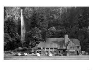 Multnomah Lodge and Falls Photograph - Columbia River, OR by Lantern Press