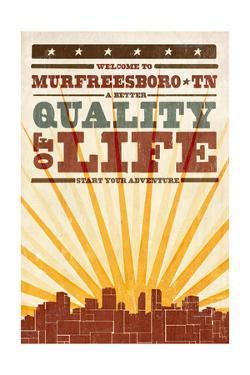Murfreesboro, Tennessee - Skyline and Sunburst Screenprint Style by Lantern Press