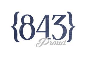 Myrtle Beach, South Carolina - 843 Area Code (Blue) by Lantern Press