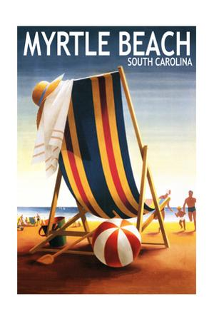 Myrtle Beach, South Carolina - Beach Chair and Ball