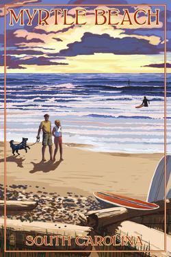 Myrtle Beach, South Carolina - Beach Walk and Surfers by Lantern Press
