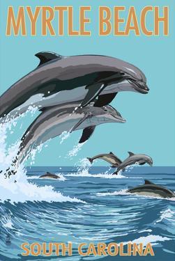 Myrtle Beach, South Carolina - Dolphins Swimming by Lantern Press