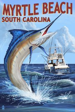 Myrtle Beach, South Carolina - Marlin Fishing Scene by Lantern Press