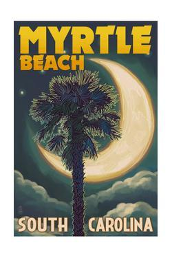 Myrtle Beach, South Carolina - Palmetto Moon and Palm by Lantern Press