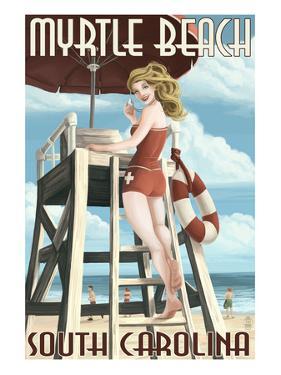 Myrtle Beach, South Carolina - Pinup Girl Lifeguard by Lantern Press