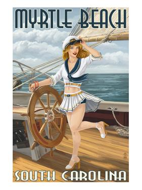 Myrtle Beach, South Carolina - Pinup Girl Sailor by Lantern Press