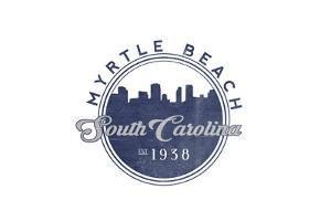 Myrtle Beach, South Carolina - Skyline Seal (Blue) by Lantern Press