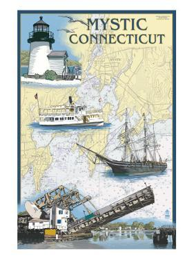 Mystic, Connecticut - Nautical Chart by Lantern Press