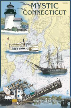 Mystic, Connecticut - Nautical Chart by Lantern Press