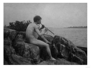 Naked Man Playing His Pipe Photograph by Lantern Press