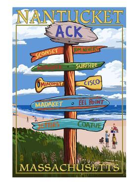 Nantucket, Massachusetts - Sign Destinations by Lantern Press