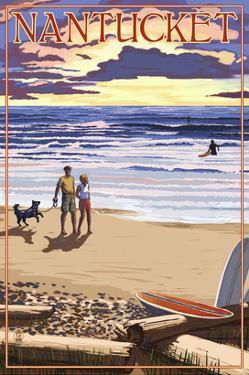 Nantucket, Massachusetts - Sunset Beach Scene by Lantern Press