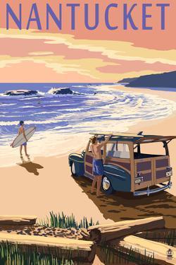 Nantucket, Massachusetts - Woody on Beach by Lantern Press