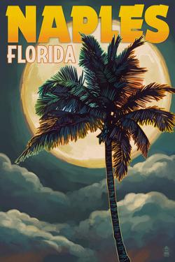 Naples, Florida - Palm and Moon by Lantern Press