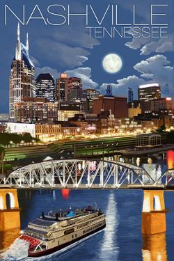 Nashville at Night - Nashville, Tennessee by Lantern Press