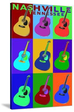Nashville, Tennessee - Acoustic Guitar Pop Art by Lantern Press
