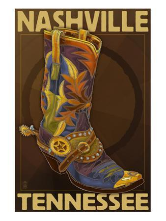 Nashville, Tennessee - Boot by Lantern Press