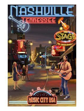 Nashville, Tennessee - Broadway at Night by Lantern Press