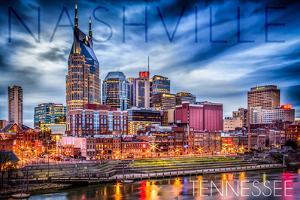 Nashville, Tennessee - Colorful Skyline by Lantern Press