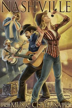 Nashville, Tennessee - Country Band Scene by Lantern Press