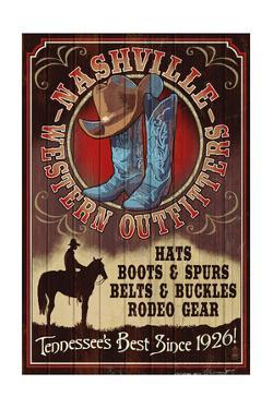Nashville, Tennessee - Hat and Boots Vintage Sign by Lantern Press