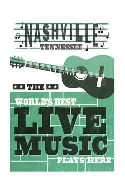 Nashville, Tennessee - Horizontal Guitar - Teal Screenprint by Lantern Press