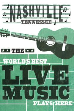 Nashville, Tennessee - Horizontal Guitar - Teal Screenprint by Lantern Press