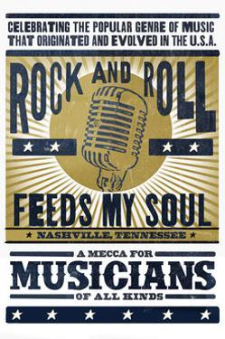 Nashville, Tennessee - Microphone - Blue and Gold Screenprint by Lantern Press