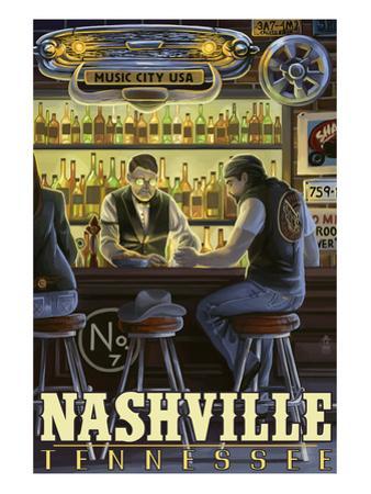 Nashville, Tennessee - Saloon Scene by Lantern Press