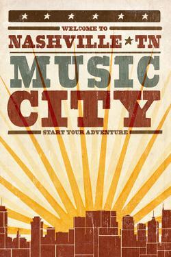 Nashville, Tennessee - Skyline and Sunburst Screenprint Style by Lantern Press