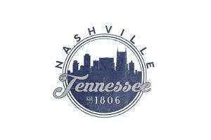 Nashville, Tennessee - Skyline Seal (Blue) by Lantern Press