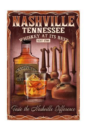 Nashville, Tennessee - Whiskey Vintage Sign by Lantern Press