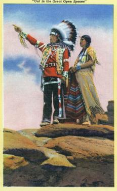 Native American Couple on Rocks by Lantern Press