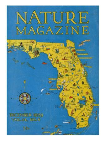 Nature Magazine - Detailed Map of Florida State with Scenic Spots to Visit, c.1929 by Lantern Press
