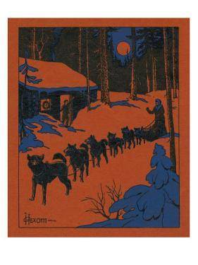 Nature Magazine - View of a Dog Sled and Team, Couple with Cabin in a Snowy Winter Scene, c.1952 by Lantern Press