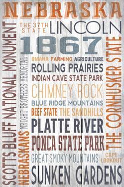Nebraska - Barnwood Typography by Lantern Press