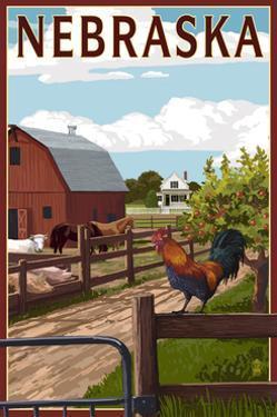 Nebraska - Barnyard Scene by Lantern Press