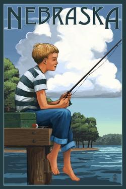 Nebraska - Boy Fishing by Lantern Press