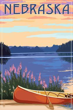 Nebraska - Canoe and Lake by Lantern Press
