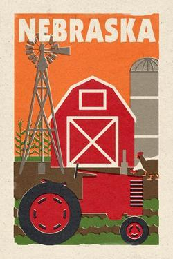 Nebraska - Country - Woodblock by Lantern Press