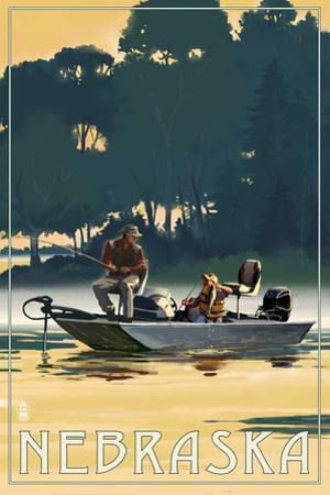 Nebraska - Fishermen in Boat by Lantern Press