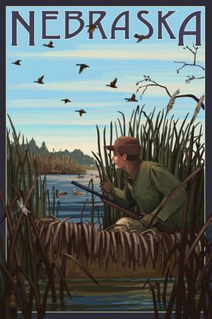 Nebraska - Hunter and Lake by Lantern Press