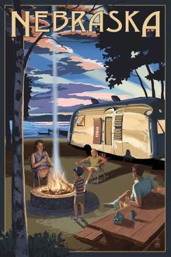 Nebraska - Retro Camper and Lake by Lantern Press