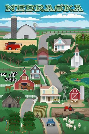 Nebraska - Retro Style Countryside by Lantern Press