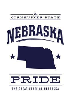 Nebraska State Pride - Blue on White by Lantern Press